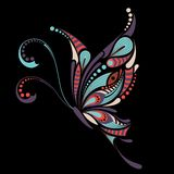 Patterned colored butterfly. African / indian / totem / tattoo design. It may be used for design of a t-shirt, bag, postcard and p Royalty Free Stock Photo