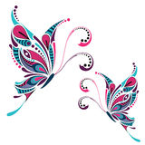 Patterned colored butterfly. African / indian / totem / tattoo design Royalty Free Stock Photography