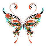 Patterned colored butterfly. African / indian / totem / tattoo design Royalty Free Stock Image