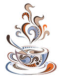 Patterned colored cap of coffee. Batik/African / Indian / totem / tattoo design Stock Photography