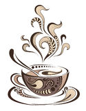 Patterned colored cap of coffee. Batik/African / Indian / totem / tattoo design Royalty Free Stock Photo