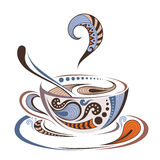 Patterned colored cap of coffee. Batik/tattoo design. It may be used for design of a t-shirt, bag, postcard and menu Royalty Free Stock Images