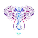 Patterned colored head of the elephant. African / indian / totem / tattoo design. It may be used for design of a t-shirt, bag, pos royalty free illustration