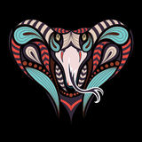 Patterned colored head of the King Cobra. African, indian tattoo design. Stock Photography