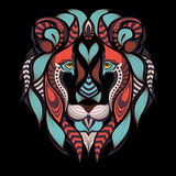 Patterned colored head of the lion. African, indian tattoo design. It may be used for design of a t-shirt, bag, postcard Stock Image
