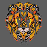Patterned colored head of the lion. African / indian / totem / tattoo design. It may be used for design of a t-shirt, bag, postcar. D Stock Photos