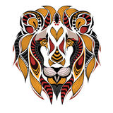 Patterned colored head of a lion. African / indian / totem / tattoo design. It may be used for design of a t-shirt, bag, postcard Royalty Free Stock Images
