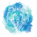 Patterned colored head of the lion. African, indian, totem, tattoo design. It may be used for design of a t-shirt, bag, postcard a Royalty Free Stock Photography