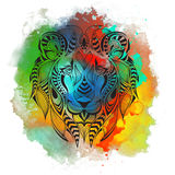 Patterned colored head of the lion. African, indian, totem, tattoo design. It may be used for design of a t-shirt, bag, postcard a Royalty Free Stock Photo
