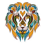 Patterned colored head of the lion.  Stock Photo