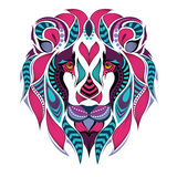 Patterned colored head of the lion. African / indian / totem / tattoo design Stock Images