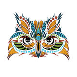 Patterned colored head of the owl. African / indian / totem / tattoo design Royalty Free Stock Photo