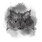 Patterned colored head of the owl. African, indian, totem, tattoo design. It may be used for design of a t-shirt, bag, postcard an Stock Images