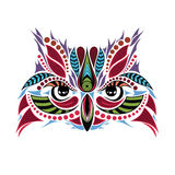 Patterned colored head of the owl. African / indian / totem / tattoo design Stock Photo