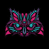Patterned colored head of the owl on black. African / indian / totem / tattoo design. Stock Photos