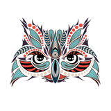 Patterned colored head of the owl. It may be used for design of a t-shirt Royalty Free Stock Photography