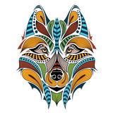 Patterned colored head of the wolf. Stock Images