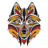 Patterned colored head of the wolf. Stock Image