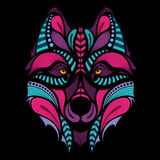 Patterned colored head of the wolf. African / indian / totem / tattoo design Stock Photography