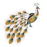 Patterned colored peacock. African / indian / totem / tattoo design Royalty Free Stock Photo