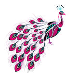 Patterned colored peacock. African / indian / totem / tattoo design Stock Photography