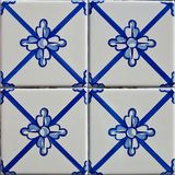 Patterned colored tiles on houses symbol of Lisbon. Abstract, ornament, European authentic style.  Stock Photography