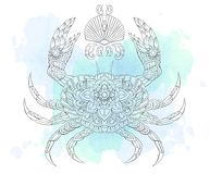 Patterned crab on the watercolor background. Tattoo design. It may be used for design of a t-shirt, bag, postcard, a poster and so on royalty free illustration