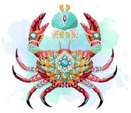 Patterned crab on the watercolor background. vector illustration