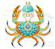 Patterned crab on the watercolor background. Tattoo design. It may be used for design of a t-shirt, bag, postcard, a poster and so on stock illustration