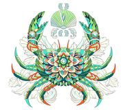 Patterned crab on the watercolor background. stock illustration