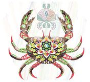 Patterned crab on the watercolor background. royalty free illustration