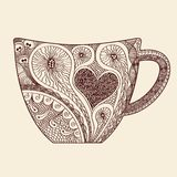 Patterned cup drawing Stock Photo
