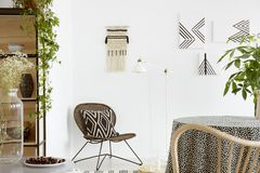 Patterned cushion on chair and plant on table in white boho living room interior with posters. Real photo royalty free stock photography