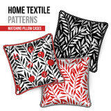 Patterned decorative pillows cushions. Pattern and Set of 3 matching decorative throw pillows with this pattern applied. Patterned cushion. Tropical leaves Royalty Free Stock Photo