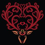 Patterned deer with beautiful horns, hearts and flowers.  royalty free illustration