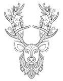 Patterned Deer Head with Big Antlers Stock Image