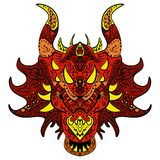 Patterned dragon head. Colored doodle dragon stock illustration