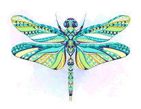 Patterned dragonfly on the grunge background. African, indian, totem, tattoo design. It may be used for design of a t-shirt, bag, postcard, a poster and so on vector illustration
