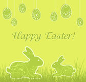 Patterned Easter bunnies and eggs Royalty Free Stock Photography