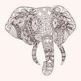 Patterned elephant. Zentangle style, EPS10 vector illustration Stock Photos