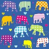 Patterned elephants, background for kids Stock Photography