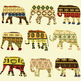 Patterned elephants Royalty Free Stock Images