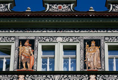 Patterned facade of a Baroque building with portrait of Karel IV, King of Bohemia Stock Images