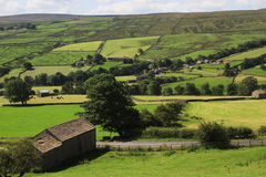 Patterned fields and outbuildings royalty free stock photography