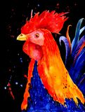 Patterned fiery rooster on the black background. Symbol of chinese new year. It may be used for design of a t-shirt, bag Stock Photography