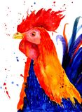 Patterned fiery rooster on the white background. Symbol of chinese new year. It may be used for design of a t-shirt, bag Royalty Free Stock Photo