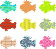 Patterned fish. Artistic abstract patterned fish wallpaper background design Stock Image