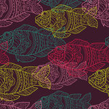 Patterned fishes seamless pattern Royalty Free Stock Image