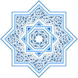 Patterned floor tile, moroccan pattern. Patterned floor tile. Moroccan pattern design. Eight-ray star. Vector illustration. Moorish mosaic in blue. Small flowers Stock Photo