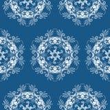 Patterned floral background. Illustration of abstract white floral background on blue background Royalty Free Stock Images